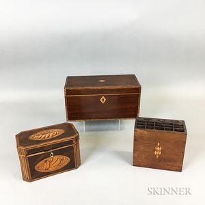 Two Georgian Inlaid Mahogany Tea Caddies and an Inlaid Walnut Cutlery Box