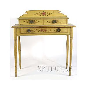 Paint Decorated Pine Six Board Chest,