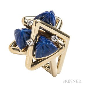 18kt Gold, Lapis, and Diamond Ring, La Triomphe