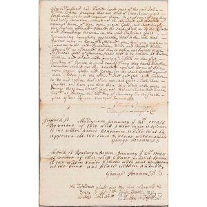 Dudley, Paul (1675-1751) Document Signed, Boston, 22 January 1705.
