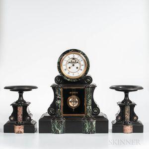 French Belgian Black Slate Clock and Garniture Set