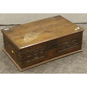 English Carved Oak Lidded Bible Box.