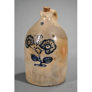 Three-gallon Stoneware Jug with Cobalt Flower Blossom Decoration
