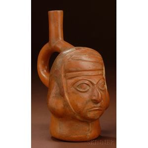 Pre-Columbian Painted Pottery Portrait Vessel