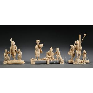 Three Groups of Ivory Carvings