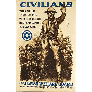 Sidney H. Riesenberg Civilians   Jewish Welfare Board U.S. WWI Lithograph   Poster