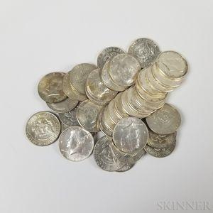 Seventeen 1964 Kennedy Half Dollars and Seventeen Clad Kennedy Half Dollars.     Estimate $100-200