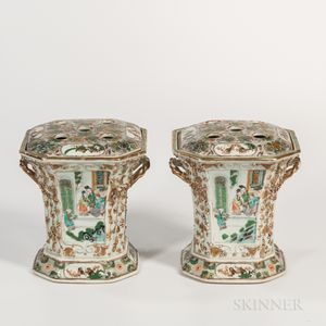 Pair of Canton Famille Verte Tulip Vases with Covers