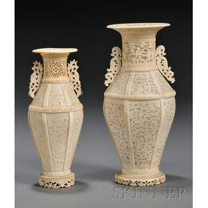 Two Ivory Vases
