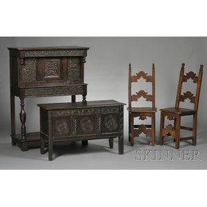 Four Pieces of Jacobean Oak Furniture