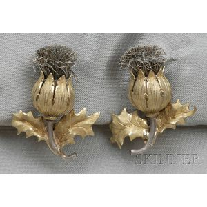 18kt Gold Thistle Earclips, Buccellati
