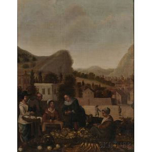 Manner of Hendrik Martensz Sorgh (Dutch, 1611-1670)      Outdoor Vegetable Market.