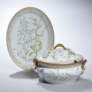 "Royal Copenhagen Porcelain ""Flora Danica"" Soup Tureen and Platter"