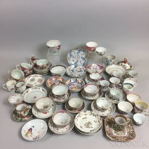 Seventy-three Chinese Export Porcelain Teaware Items