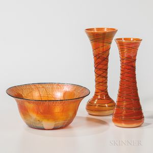 Three Imperial Art Glass Items