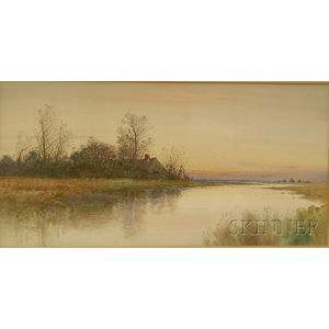 Samuel R. Chaffee (American, 19th/20th Century)      View of a Marsh at Low Tide.