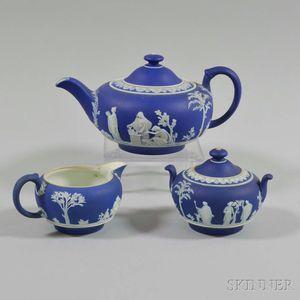 Three Wedgwood Dark Blue Jasper Items
