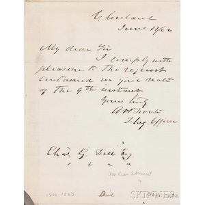 Foote, Andrew Hull (1806-1863) Autograph Letter Signed, 11 June 1862.