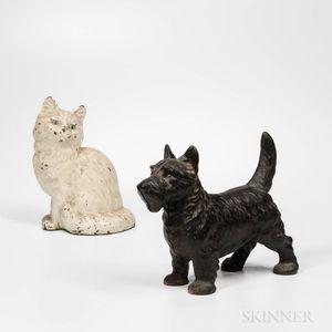 Cast Iron Cat and Dog Doorstops