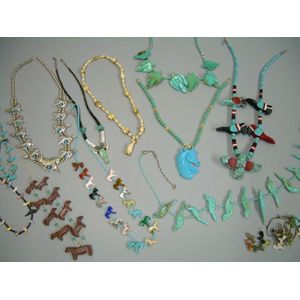 Eleven Southwestern-style Hardstone Fetish and One Silver Bead Necklaces.