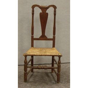Queen Anne Red-painted Wooden Side Chair with Woven Rush-style Seat.