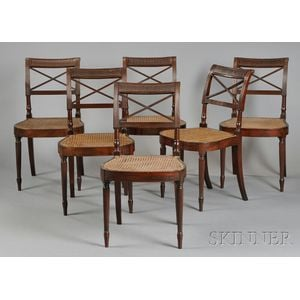 Set of Six Carved Mahogany and Mahogany Veneer Scroll-back Dining Chairs