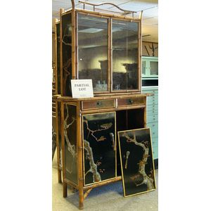 Pair of Asian Bamboo and Lacquer Paneled Cabinets.