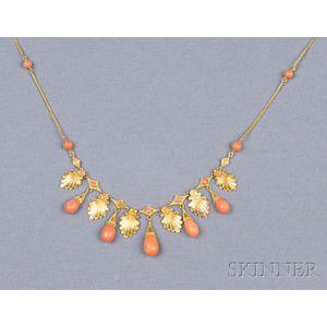 Etruscan Revival 18kt Gold and Coral Fringe Necklace