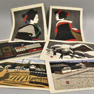 Six Kiyoshi Saito Woodblock Prints