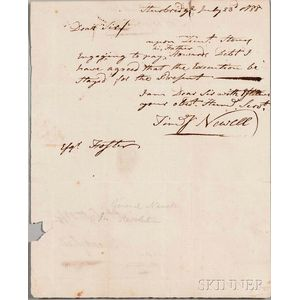 Newell, Timothy (1742-1819) Autograph Document Signed, Sturbridge, 23 July 1788.