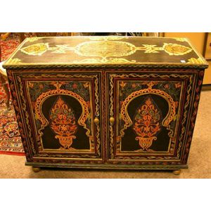 Paint Decorated Wooden Two-Door Commode Cabinet.