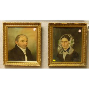 Lot of Two Framed 19th Century Continental School Portraits of a Man and Woman