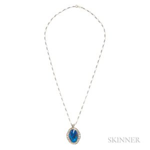 14kt White Gold, Black Opal, and Diamond Pendant