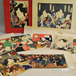 Eight Kabuki Woodblock Prints