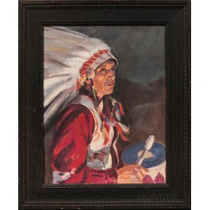 Oil on Canvasboard Portrait of a Plains Indian Drummer