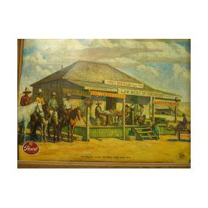 """Framed Pearl Lager Beer """"The Famous Judge Roy Bean Horse Thief Trial""""   Color Lithograph Retail Advertising Display"""