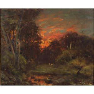 Alexander H. Wyant  (American, 1836-1892)    Red Sunset