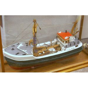 Cased Painted Wooden Fishing Trawler Model