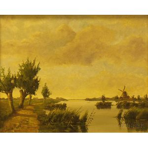 Framed Oil on Canvas River View with Distant Windmill