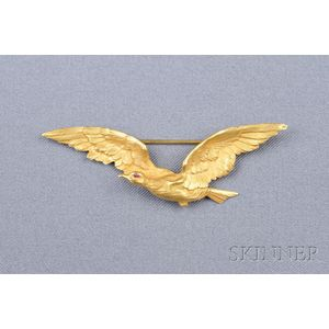 Antique 18kt Gold Bird Brooch, France