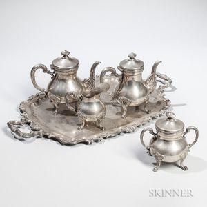 Five-piece Peruvian Sterling Silver Tea Service
