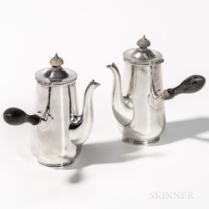 Two George V Sterling Silver Coffeepots