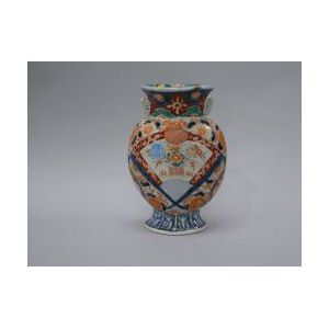 Imari Two-handled Moon-shaped Porcelain Vase.