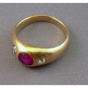 Synthetic Ruby and Diamond Gypsy Ring