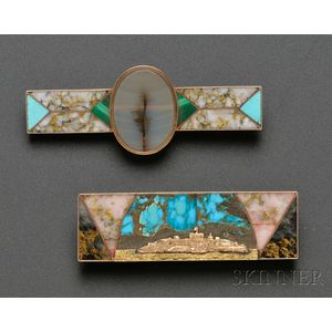 Unusual Inlaid Hardstone Scenic Brooch depicting Alcatraz Island