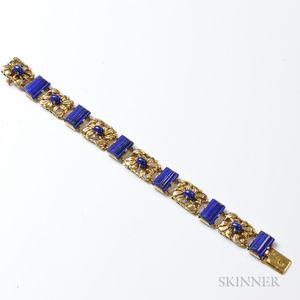 18kt Gold and Lapis Floral Bracelet