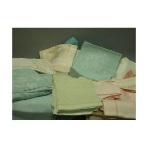 Box of Assorted Damask and Lace Table Linens.