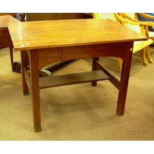 L .& J.G. Stickley Oak One-Drawer Library Table