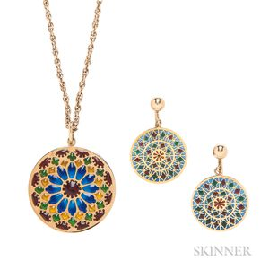 18kt Gold and Plique-a-jour Enamel Pendant and Earrings