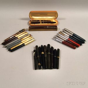 Twenty-eight Assorted Vintage Fountain Pens and Mechanical Pencils